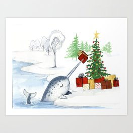 Christmas Narwhal Art Print