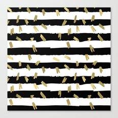 Gold Black and White Stripes Canvas Print