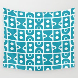 Funky Mid Century Modern Pattern Turquoise Wall Tapestry