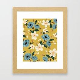 Mustard and Blue Floral Framed Art Print