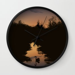 Swan at Dusk Wall Clock