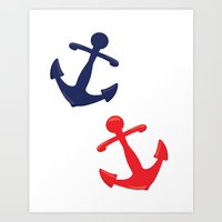anchors Art Prints featuring Anchors by Indulge My Heart
