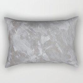 White Ink on Silver Background Rectangular Pillow