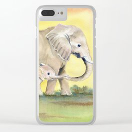 Colorful Mom and Baby Elephant 2 Clear iPhone Case