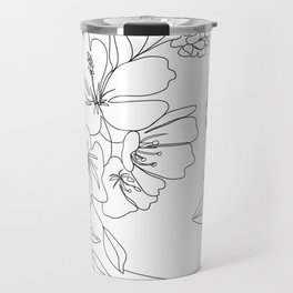 Minimal Line Art Woman Face II Travel Mug