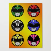 power ranger Canvas Prints featuring Mighty Morphin Power Ranger Headz by Omnibit Designs