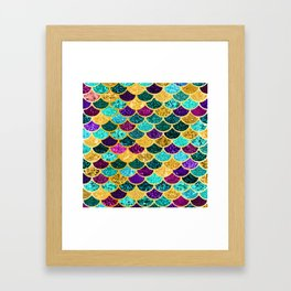 Glitter Purple, Aqua and Gold Mermaid Scales Pattern Framed Art Print