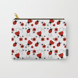 Red Ladybug Floral Pattern Carry-All Pouch
