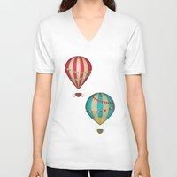 hot air balloon V-neck T-shirts featuring Hot Air Balloon by Zen and Chic