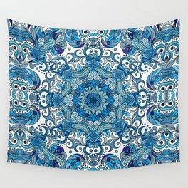 Blue Boho Mandela Pattern Wall Tapestry