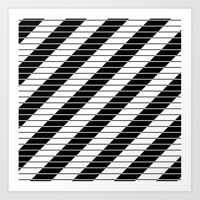 Simply Black And White Abstract Geometric Design Art Print By