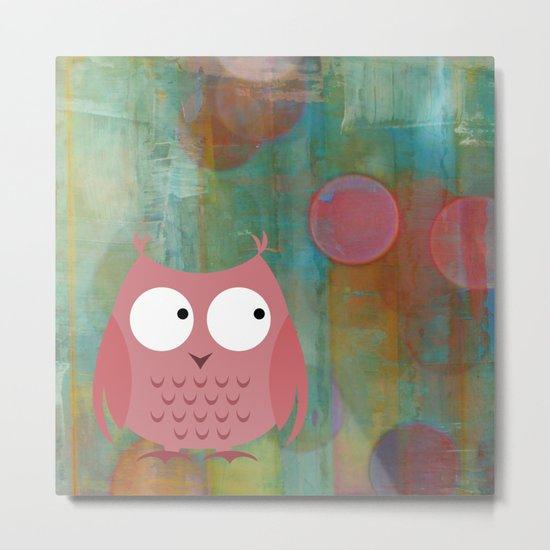 Owl Pink Metal Print