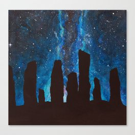 Outlander Craigh Na Dun Standing Stones Watercolor Painting with milky way galaxy Canvas Print