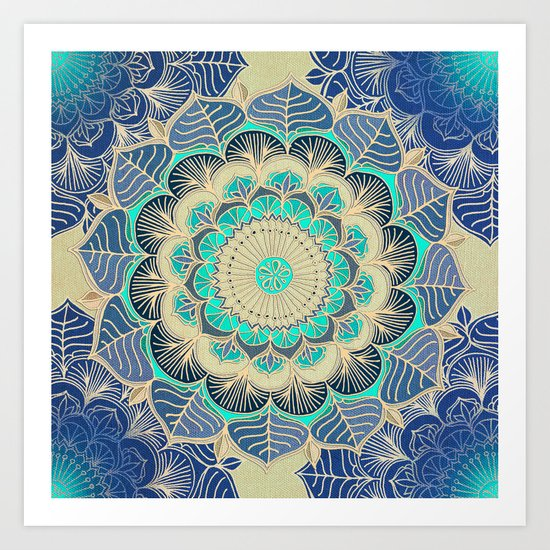 Midnight Bloom - detailed floral doodle in gold, navy blue & mint Art Print
