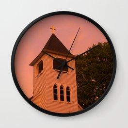 church sunset Wall Clock