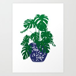 Chinoiserie Ginger Jar and Monstera Plant | Chinese Ginger Jar | Blue and White Ginger Jar | Blue and White Pottery | Art Print