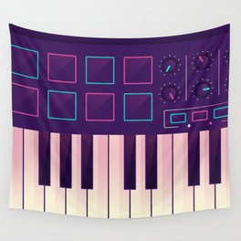 Neon MIDI Controller Wall Tapestry