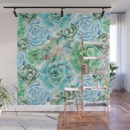 Mint Green Succulents Wall Mural