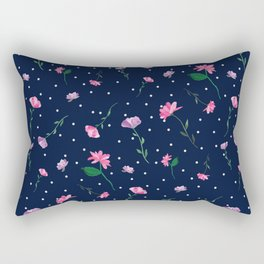 Pretty Pink Watercolour Flowers Rectangular Pillow