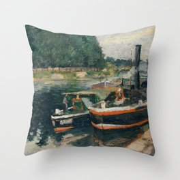 Camille Pissarro - Barges at Pontoise (1876) Throw Pillow