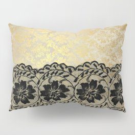 Black floral luxury lace on gold damask pattern Pillow Sham