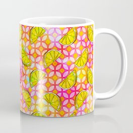 Rainbow Pastel Lemon & Lime Watercolor, Pink & Yellow Green Flowers - a Summer Fruit Party Coffee Mug