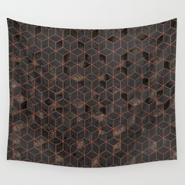 Copper Gold and Black Hexagons Geometric Pattern Wall Tapestry