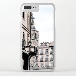 Major Square of Segovia Drawing in Spain Clear iPhone Case