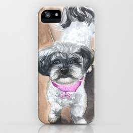 Izzy the Shih-Poo Mix - Watercolor Painting - Shih Tzu Poodle iPhone Case