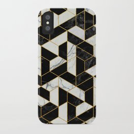 Black and White Marble Hexagonal Pattern iPhone Case