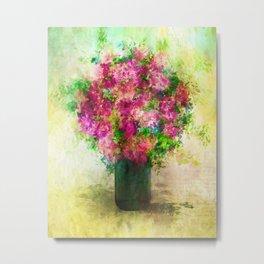 Roses and Wildflowers in Mason Jar Metal Print