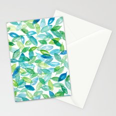 Watercolor Leaves in Blues & Greens Stationery Cards