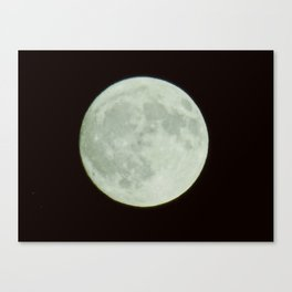 Bright white full moon with black sky Canvas Print