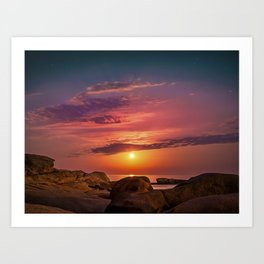 """Magical landscape with clouds and the moon going up in the sky in """"La Costa Brava, Spain"""" Art Print"""