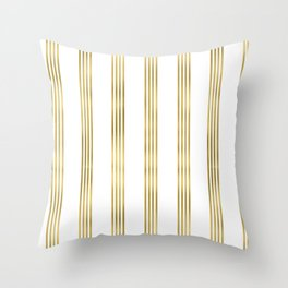 Simply luxury Gold small stripes on clear white - vertical pattern Throw Pillow