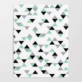 Triangles Mint Grey Poster
