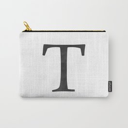 Letter T Initial Monogram Black and White Carry-All Pouch