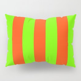 Bright Neon Green and Orange Vertical Cabana Tent Stripes Pillow Sham