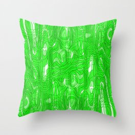 Subtle interweaving of sparkling smudges from green lava and light chaotic cycle. Throw Pillow