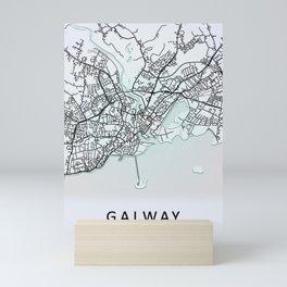 Galway, Ireland, White, City, Map Mini Art Print
