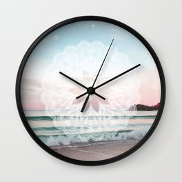 Seashell surf mandala Wall Clock
