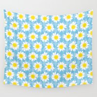 daisies Wall Tapestries featuring Daisies by i ♥ patterns