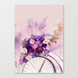 Vintag Bicycle and Flowers Canvas Print