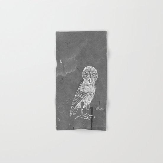 ATHENA'S OWL IN GREY BACKGROUND  Hand & Bath Towel
