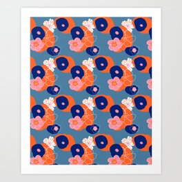 Hibiscus Trionium Wood Block Pattern Art Print