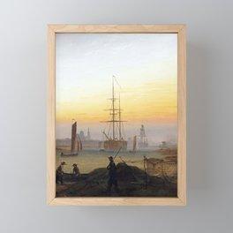 Caspar David Friedrich Ships in the Harbor of Greifswald Framed Mini Art Print