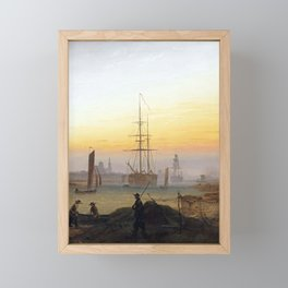 Caspar David Friedrich Ships in the Harbor of Greifswald Framed Mini Art Print