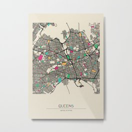 Colorful City Maps: Queens, New York Metal Print