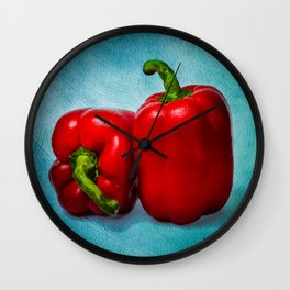 Red Bell Peppers Wall Clock