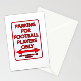 Football Player Parking sign Stationery Cards